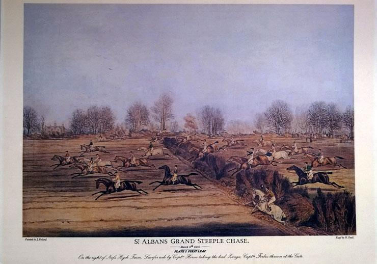 St-Albans-Grand-Steeplechase-James-Pollard-print-Plate-2-First-Leap-1832-Horse-Racing-memorabilia