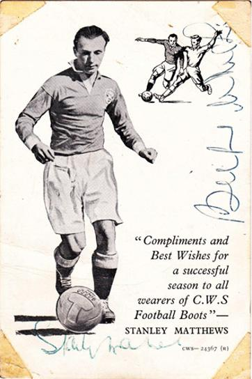 Stanley-Matthews-Blackpool-fc-football-memorabilia-Stoke-City-signed-autograph-England-Wizard-Dribble-Billy-Wright-CWS-boots-player-card-signature