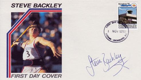 STEVE BACKLEY (1992 Olympic Bronze - Javelin) Hand-signed Barcelona '92 Olympics FDC