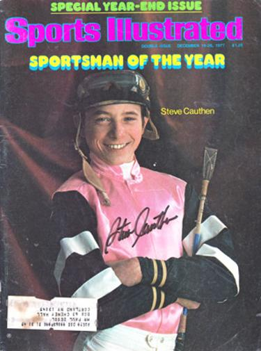 Steve-Cauthen-autograph-signed-sports-illustrated-magazine-Sportsman-of-the-year-issue-1977-horse-racing-memorabilia-flat-champion-jockey-the-kid-kentucky-signature