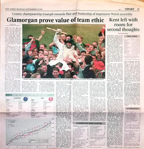 Steve-James-autograph-signed-1997-County-Champions-times-newspaper-article-glamorgan-cricket-memorabilia-wales-cardiff-sofia-gardens-dragons