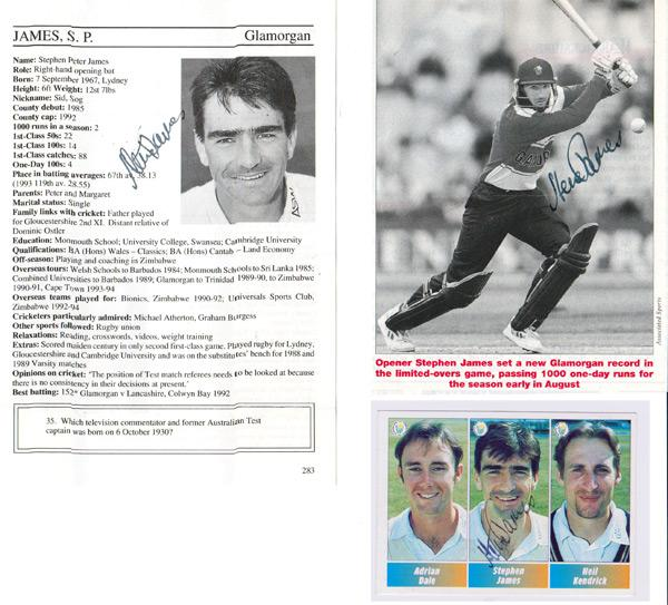 Steve-James-autograph-signed-glamorgan-cricket-memorabilia-run-thief-batsman-england-opener-cricketers-whos-who-bio-page-pen-pic-signature