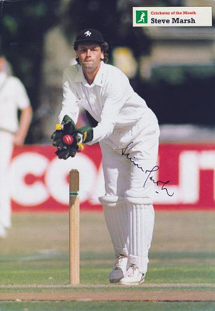 Steve-Marsh-autograph-signed-Kent-cricket-memorabilia-KCCC-spitfires-county-signature-captain-wicket-keeper-1991-the-cricketer-of-the-month-poster