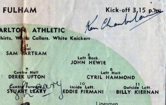 Stuart-Leary-autograph-Charlton-Athletic-football-memorabilia-signed-programme-1953-v-Fulham-portrait-picture-signature-KCCC-Kent-Cricket-ken-chamberlain