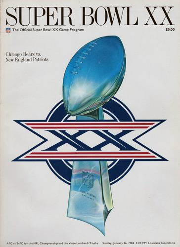 Super-Bowl-XX-20-GameDay-Programme-Program-Chicago-Bears-New-England-Patriots-1986-NFL-Vince-Lombardi-Trophy-Louisiana-Superdome-Monsters-Midway