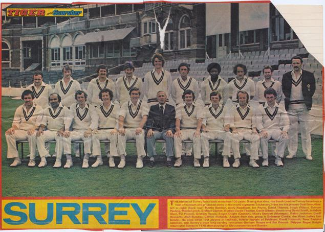 Surrey-CCC-Cricket-memorabilia-Oval-1978-team-photo-Tiger-comic-playing-squad