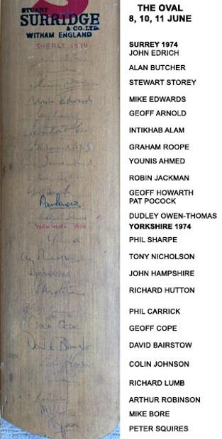 Surrey-cricket-memorabilia-1974-signed-bat-yorkshire-ccc-oval-edrich-younis-hutton-bairstow-signature