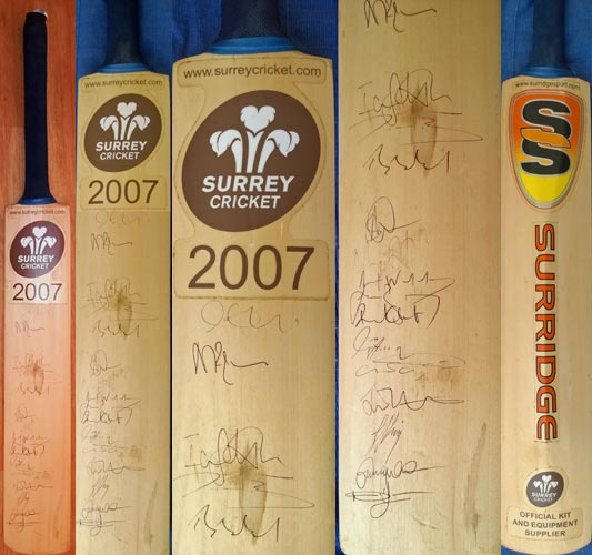 Surrey-cricket-memorabilia-signed-2007-bat-SCCC-lions-brown-caps-kia-oval-official-surridge-autograph-players-squad-team-eleven-champions-full-size