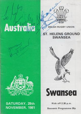 Swansea-rugby-memorabilia-1981-programme-Australia-signed-autograph-signature-wales-welsh