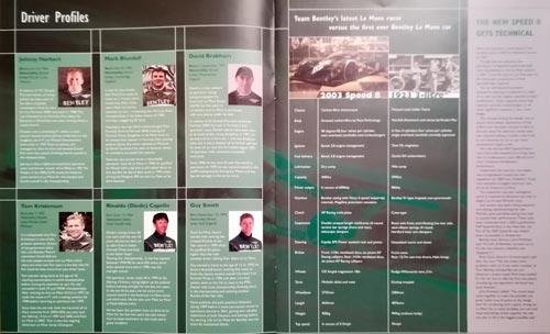 Team-Bentley-2003-Le-Mans-Special-magazine-booklet-associates-edition-driver-profiles-car-specifications