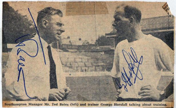 Ted-Bates-autograph-signed-Southampton-FC-football-memorabilia-Saints-manager-player-Soton-trainer-George-Horsfall-signature-edward