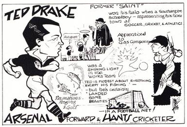 Ted-Drake-autograph-signed-Arsenal-FC-football-memorabilia-benefit-programme-Fulham-signature-cartoon-1-caricature