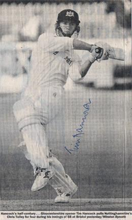 Tim-Hancock-autograph-signed-Gloucestershire-Gloucs-CCC-cricket-memorabilia-newspaper-picture-batting-opening-batsman-signature