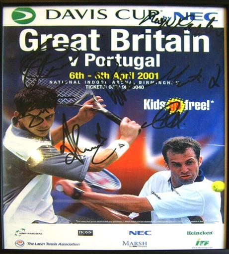 Tim-Henman-autograph-signed-Great-Britian-davis-cup-tennis-memorabilia-2001-greg-rusedski-signature-jeremy-bates-roger-taylor-Lee Childs-Martin Lee Portugal poster