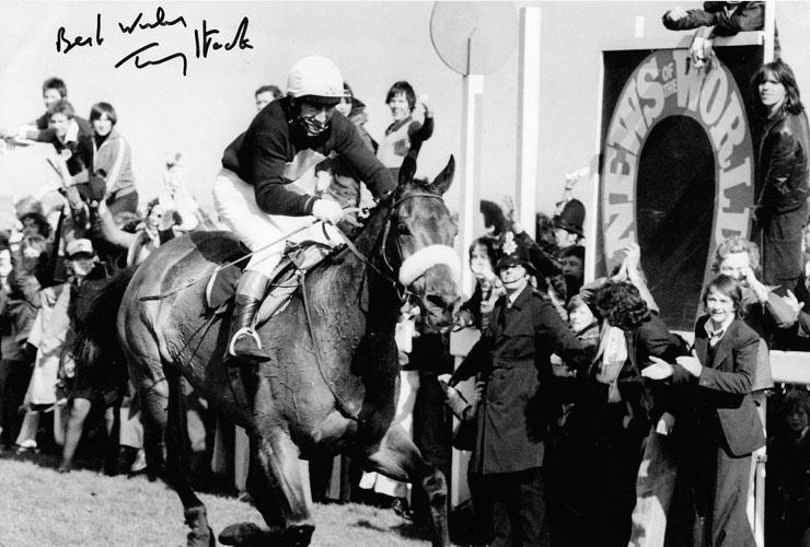 TOMMY STACK memorabilia (jockey) signed Red Rum memorabilia Aintree Grand National memorabilia ph