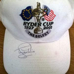TONY JACKLIN signed Ryder Cup golfing cap 1927 2001 The Belfry golf course