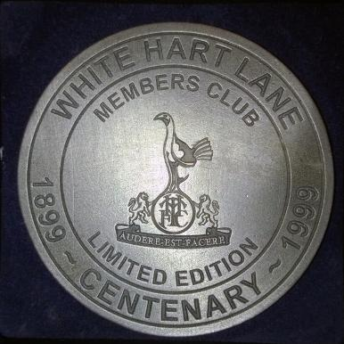 Tottenham Hotspur FC THFC Spurs White Hart Lane Centenary Pewter Coaster 1899 1999 Limited Edition