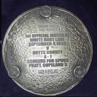 Tottenham Hotspur FC THFC Spurs White Hart Lane Centenary Pewter Coaster 1899 1999 Limited Edition Reverse