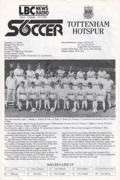 Tottenham-hotspur-football-memorabilia-1986-London-6-a-side-indoor-soccer-championships-programme-signed-Spurs-LBC-Wembley-Arena
