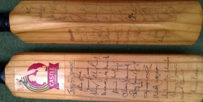 Transvaal-1984-85-Currie-Cup-winners-signed-cricket-bat-Western-Province Graeme Pollock