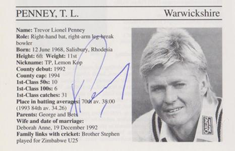 Trevor-Penney-autograph-signed-warwickshire-cricket-memorabilia-warks-ccc-rhodesia-zimbabwe-fielding-coach-whos-who-signature