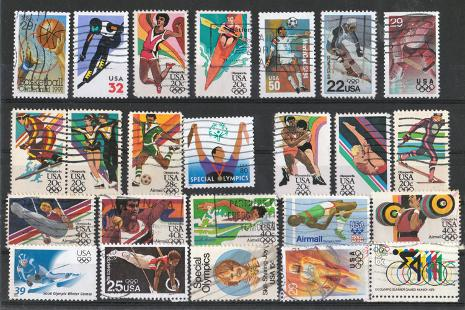 US-Sports-memorabilia-USA-Stamp-collection-Olympic-Games-stamps-skiing-memorabilia-kayaking-memorabilia-gymnastics-memorabilia-memorabilia-wrestling-memorabilia-special-olympics-memorabilia