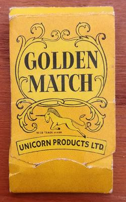 Unicorn-Golden-Match-mini-darts-memorabilia-gold-plated-match-book-collectable-vintage-novelty-matches-arrows