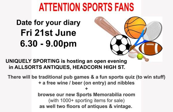 Uniquely-Sporting-Sports-memorabilia-Open-Evening-Allsorts-Antiques-Vintage-Headconr-kent-pub-games