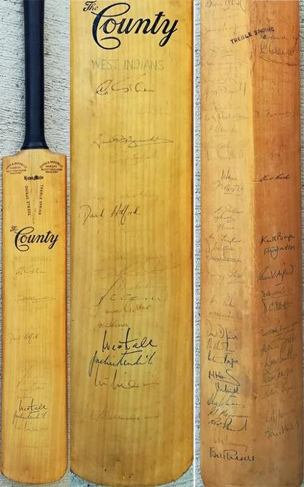West-Indies-cricket-memorabilia-1966-squad-signed-full-size-county-bat-gary-sobers-autograph-wes-hall-charlie-griffith-rohan-kanhai-lance-gibbs-yorkshire-essex-notts-middx-derby-