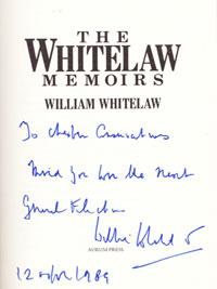 WILLIAM WHITELAW signed The Whitelaw Memoirs political autobiography Willie autograph home secretary margaret thatcher