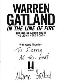 Warren-Gatland-autograph-signed-british-lions-rugby-memorabilia-in-the-line-of-fire-book-head-coach-signature