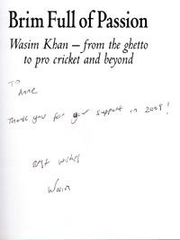 WASIM KHAN (Pakistan) signed copy of