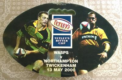 Wasps-rugby-memorabilia-2006-Tetleys-Bitter-Cup-Final-Twickenham-London-commemorative-Seat-Cushion-Northampton-Saints-Beer-31-23-union