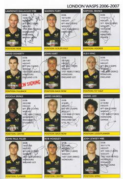 Wasps-rugby-memorabilia-signed-2006-London-double-header-Twickenham-programme-lawrence-dallaglio-autograph-raphael-ibanez-alex-king-james-haskell-josh-lewsey