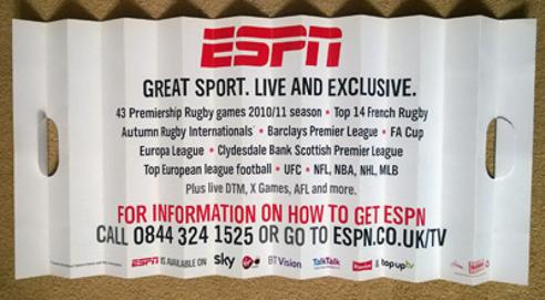 Wasps-rugby-union-memorabilia-London-ESPN-HD-sports-TV-advertising-promo-fan-try-concertina-fold-out-clapper