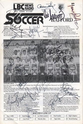 Watford-FC-football-memorabilia-London-6-a-side-indoor-soccer-championships-programme-signed-Wembley-Arena-LBC-team-autographs