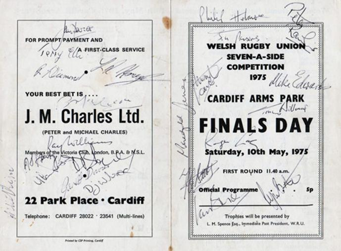 Welsh-rugby-union-seven-a-side-competition-1975-cardiff-arms-park-finals-day-official-programme-may-1975-signed-ray-williams-mike-edwards-jim-gareth-davies-terry-ellis