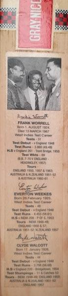 West-Indies-cricket-memorabilia-3-ws-Frank-worrell-autograph-everton-weekes-signature-clyde-walcott-signed-gray-nicolls-mini-bat-legends