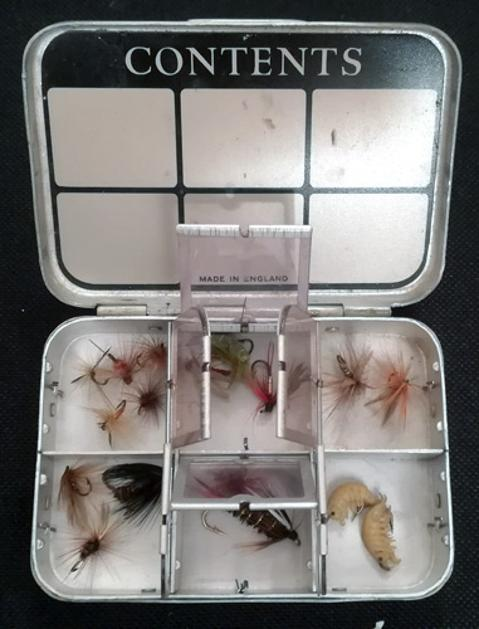 Wheatley-silmalloy-aluminium-six-window-fly-box-hand-tied-wet-dry-flies-fly-fishing-memorabilia-angling-equipment-tackle-sea-trout-salmon-grayling-lake-river-top-pocket