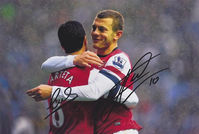JACK WILSHERE & MIKEL ARTETA signed Arsenal framed photo