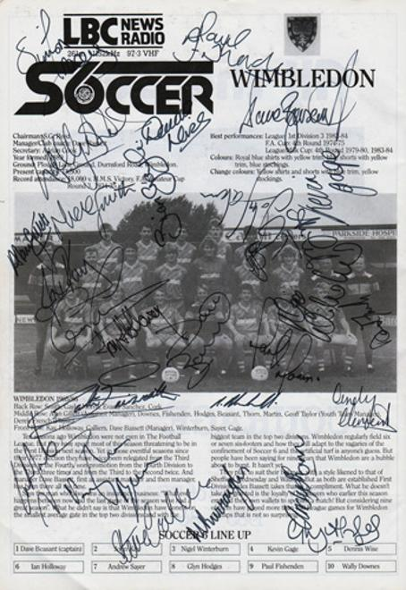 Wimbledon-football-memorabilia-1986-London-6-a-side-indoor-soccer-championships-programme-signed-Dons-autographs-Wembley-Arena-LBC-crazy-gang
