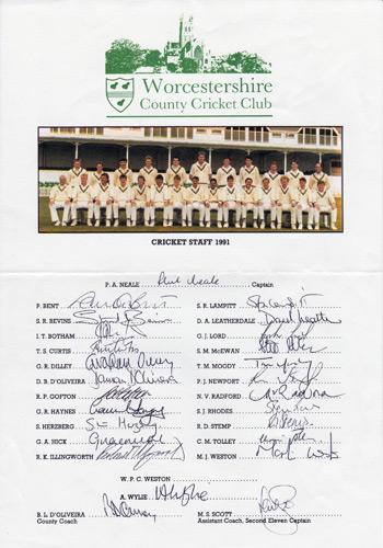 Worcestershire LIMITED EDITION CRICKET PRINTS HAND SIGNED, COMPTON, BEDSER, GOWER, EVANSe CCC 1991 signed team sheet inc Ian Botham Graeme Hick