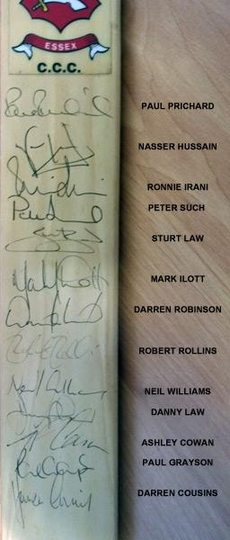 essex-cricket-memorabilia-signed-mini-bat-1998-prichard-nasser-hussain-law-irani-such-cowan-ilott-neil-williams-ccc