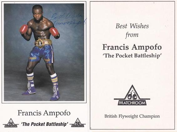 francis-ampofo-autograph-signed-boxing-memorabilia-pocket-battleship-british-flyweight-champion-matchroom-postcard-boxer