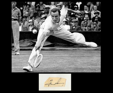 fred-perry-autograph-signed-wimbledon-tennis-memorabilia-signature-hand-signed-1930s-centre-court-clothing-overhead-smash
