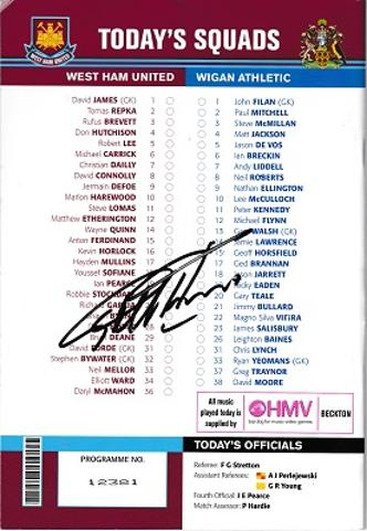 geoff Hurst autograph signed west ham united football memorabilia programme 2003 world cup winner hat trick