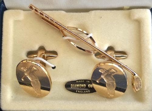 golf-jewellery-gold-plated-diamond-cut-cuff-links-tie-pin-clip-box-bling-memorabilia-fashion-golfing-golfer-accoutrements